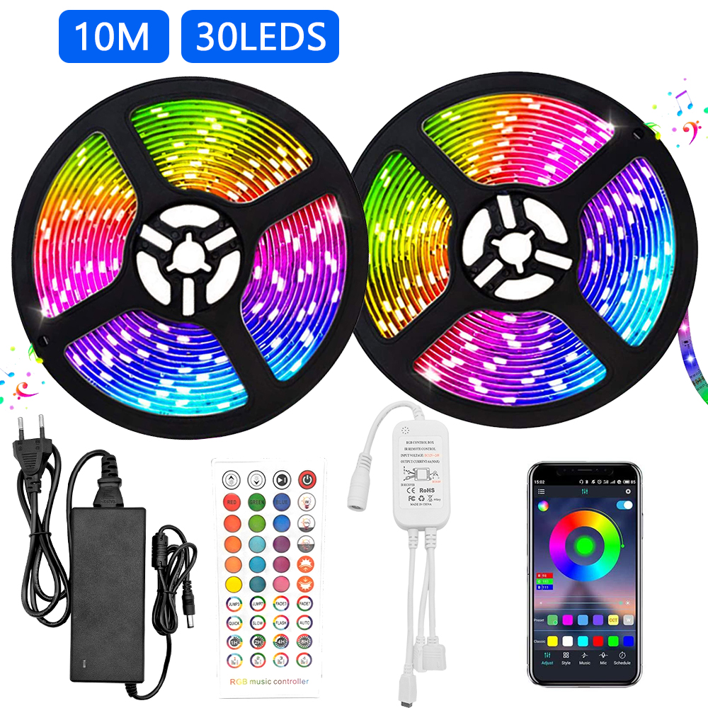LED Light Strip RGB 5050 Flexible Led Light Strip RGB 5050 Led Strip 10m Tape DC 12V + 40 Keys Remote Control + 5A Adapter