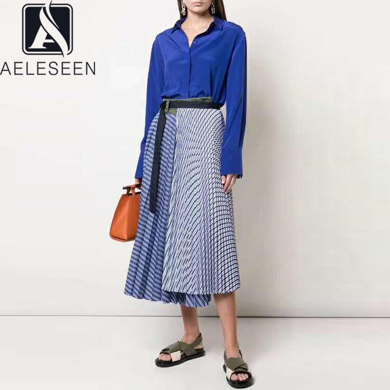 AELESEEN Runway Fashion Women Skirt 2020 High Quality Spring Summer Irregular Contrast Color Stripped Midi Vintage Skirts