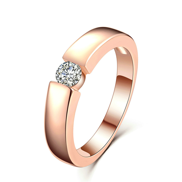 14K Rose Gold Diamond Engagement Ring for Couple Male Bridal Wedding Band Personalized AAA Zircon Rhinestone S925 Silver Rings