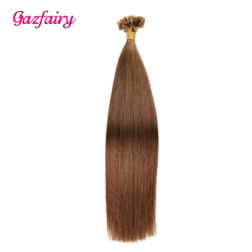 Gazfairy U Nail Tip Real Remy Pre Bonded Hair 18 Inches 1g/strand 100g Fusion Keratin Bond Human Hair Extensions Natural Color