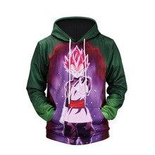 Anime Dragon Ball Z Pocket Hooded Sweatshirts Green Purple Goku 3D Hoodies Pullovers Men Women Long Sleeve Outerwear New Hoodie