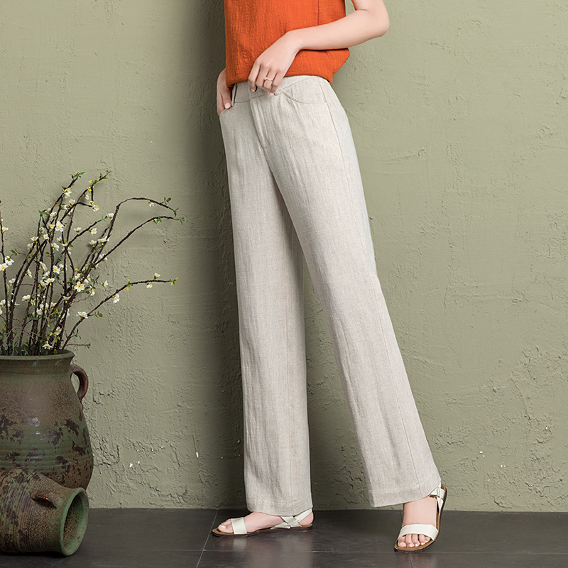 2019 cotton linen   wide     leg     pants   women 2019 summer breathable thin white elegant workwear trousers women plus DZ