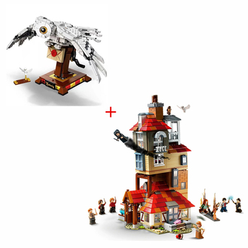 Magic Potter Movie Attack On The Burrow And Hedwig's Owl Model Building Blocks Kit Classic Bricks Kids Toy For Children Gift image