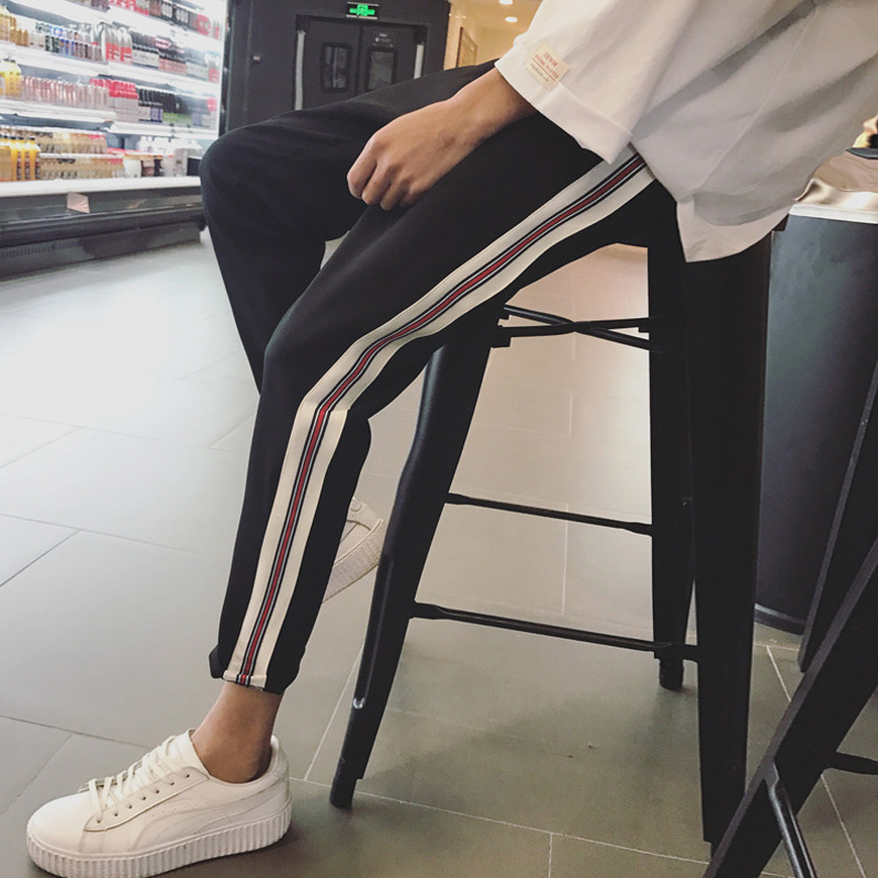 Capri Pants Male STUDENT'S Casual Skinny Pants Korean-style Trend Versatile Hong Kong Style Harem Pants Spring And Autumn Beam L