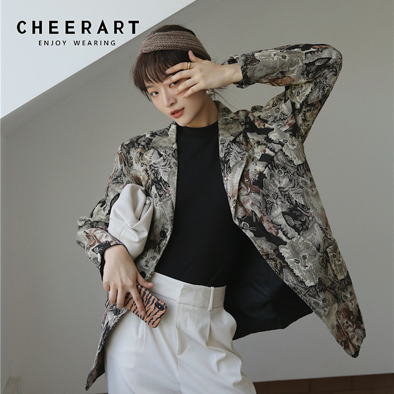 CHEERART Animal Print Blazers Women High Fashion Blazers And Jackets Quilted Overcoat Ladies Blazers Coat Designer Blazer Luxury