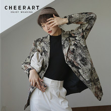 CHEERART Animal Print Blazers Women High Fashion And Jackets Quilted Overcoat Ladies Coat Designer Blazer Luxury