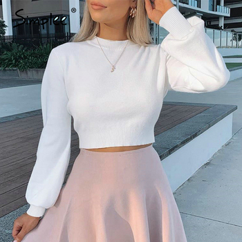 Simplee High waist Lantern Sleeve women's sweater Autumn winter white casual Pullover street style knitted 2020 - discount item  40% OFF Sweaters