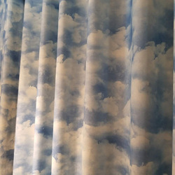Proste nowoczesne zasłony do salonu jadalnia sypialnia w stylu skandynawskim błękitne niebo biała chmura śnieg zabawny nadruk zasłony zasłony