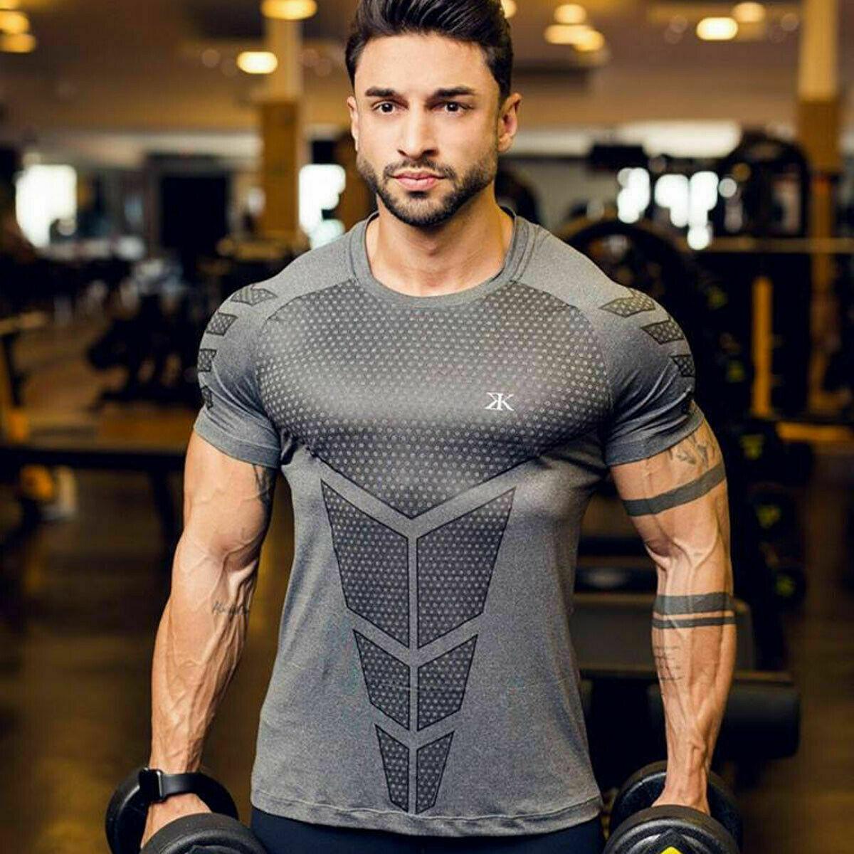 Men Hot Sale Fitness Short Sleeve Muscle Fit Bodybuilding Crew Neck T-Shirt