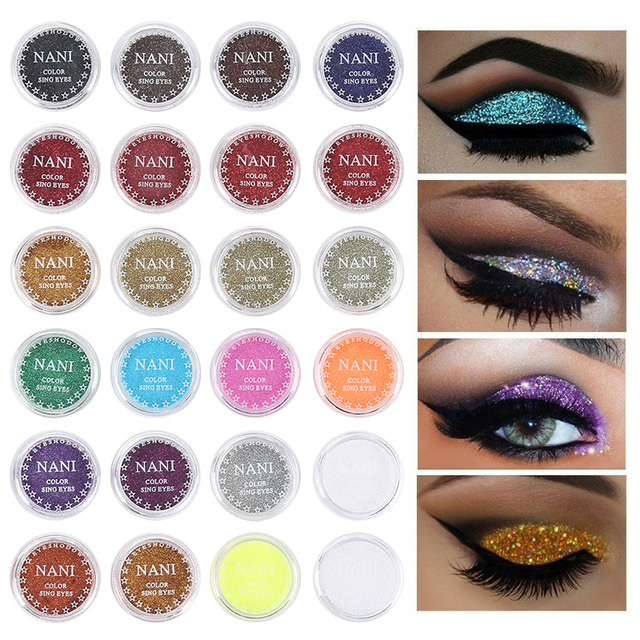 NANI 24 Colors Eye Shadow Monochrome Eye Shadow Powder Glitter + Eye Prime Shimmer Diamond Face Body Shiny Skin Pearl Powder