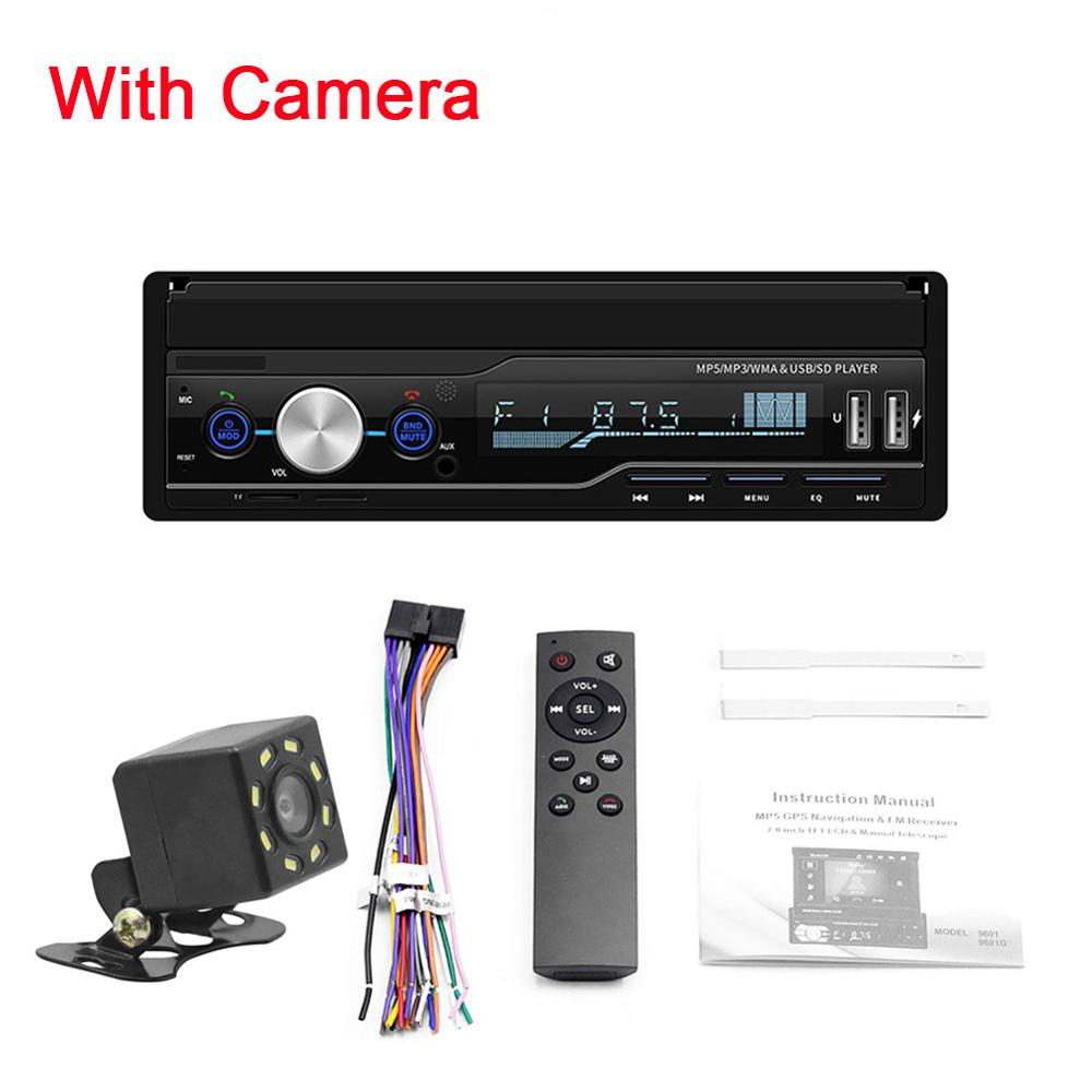 T100 Car Stereo MP5 Multimedia Player 7 Retractable Car Stereo Din Screen Touch/Rearview/TF Card/AUX/USB with Remote Control image