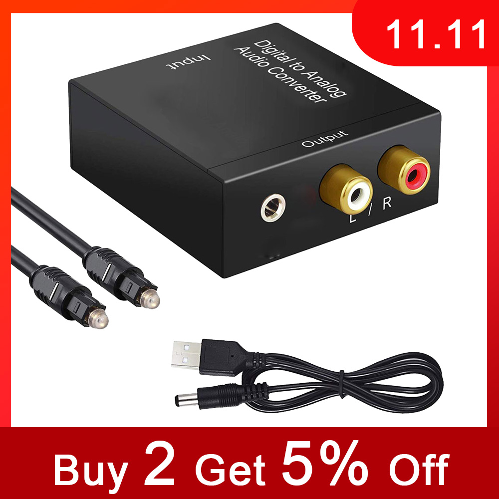Optical Digital Stereo Audio SPDIF Toslink Coaxial Signal To Analog Converter DAC Jack 2*RCA Amplifier Decoder Adapter