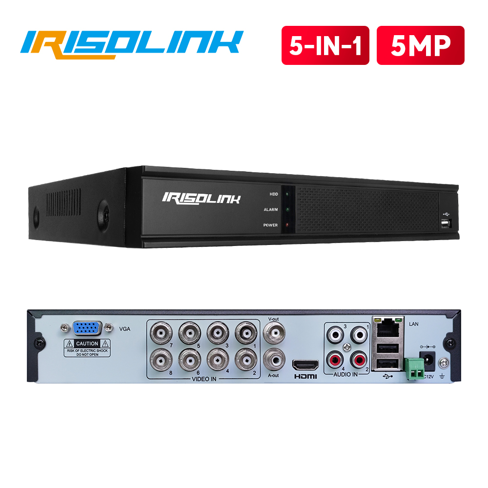 Irisolink 5MP 8CH AHD DVR 5 In <font><b>1</b></font> HYBRID H.265 Security Recorder For 5MP/4MP 1080P AHD TVI CVI Analog Camera Motion Detection image