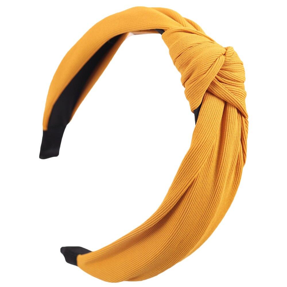 Couleur unie noeud bandeaux pour femmes Simple tissu filles bandeau femmes cheveux accessoires large côté bandeau 19