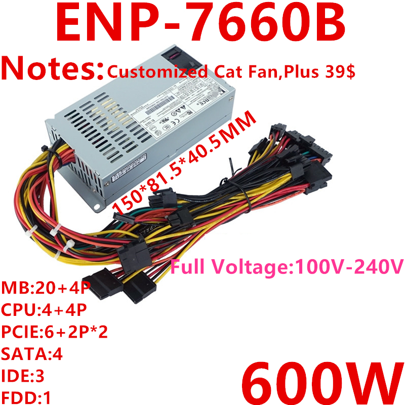 New PSU For Enhance FLEX Small 1U 600W Power Supply ENP-7660B