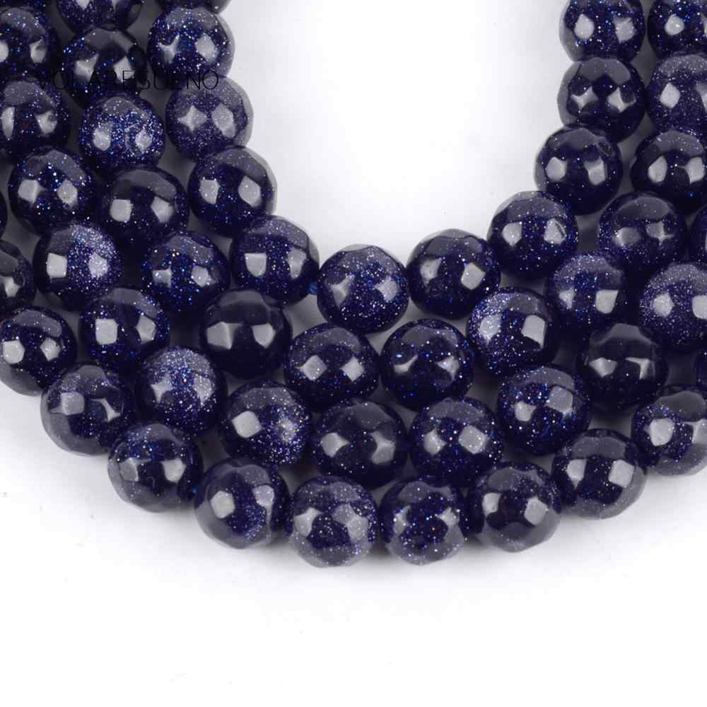 Blue Sand Stone Gemstone Faceted Round Spacer Loose Beads 15/'/'  8mm 10mm 12mm