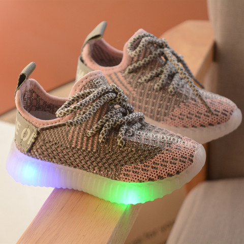 luz led sapatos criancas meninas esportes casual