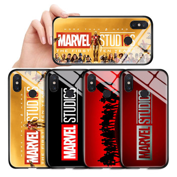 For Xiaomi mi 5X 5S Plus 6 6X A1 A2 8 Lite 8SE 9 9SE F1 Classic Marvel Studio Logo Glossy Case Tempered Glass Back Cover Casing image