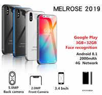 Melrose 2019 4G LTE Smartphone 3.4 pouces Super mini téléphone 1GB 8GB Android 8.1 identification d'empreintes digitales WIFI Hotspot téléphone portable
