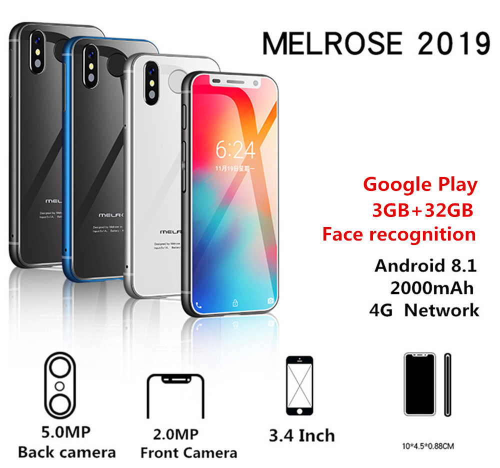 Melrose 2019 4G LTE Smartphone 3,4 Zoll Super mini Telefone 1GB 8GB Android 8.1 Fingerprint ID WIFI Hotspot mobile handy