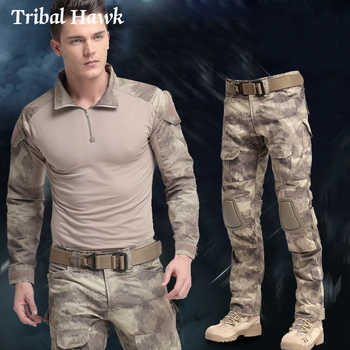 Tactical Suit Military Uniform Clothing Special Forces SWAT Camouflage Combat Suit Army Multicam Clothes Pants+T-shirt+Knee pad - DISCOUNT ITEM  42 OFF Men\'s Clothing