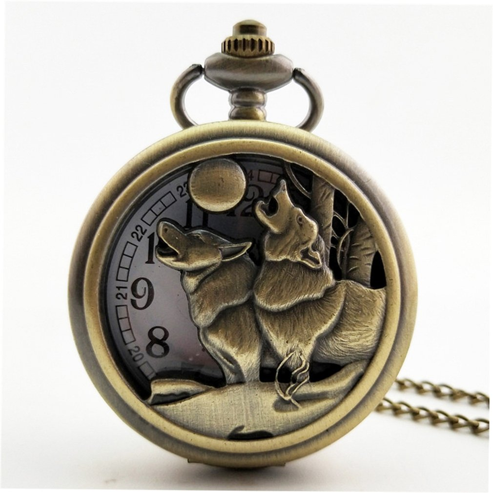 New  Chinese Zodiac Vintage Antique Quartz Pocket Watch Necklace Pendant Clock For Mens Womens Best Gifts