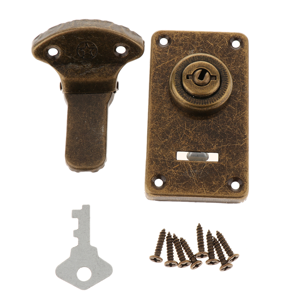Metal Trunk Buckle Shackle Lock Latch Bolt for Wooden Chest Drawer Dresser Box Case Lockset Locker