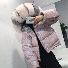 Abrigo mujer invierno chaqueta de doble cara de Invierno para mujer 90% abrigo de plumón de pato blanco de piel de zorro Real con capucha chaquetas gruesas Parkas cálidas nieve prendas