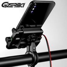 GZERMA Universal Aluminum Bicycle Motorcycle Phone Holder With USB Charger Handlebar Mobile Phone Holder Motorbike Moto Motor
