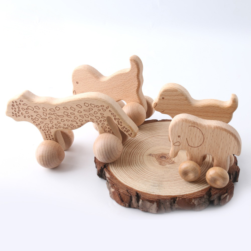 1pc Baby Toys Wooden Car Beech Animal Elephant Montessori Toys Wooden Rattle Girl Boy Blocks BPA Free Educational Baby Products