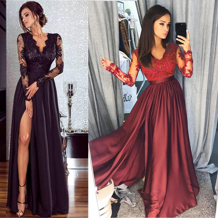 BacklakeGirls Ever Pretty Robe De Soiree Wine Red  A-line Lace Full Sleeve Satin Evening Dresses Long Elegant Wedding Guest Gown