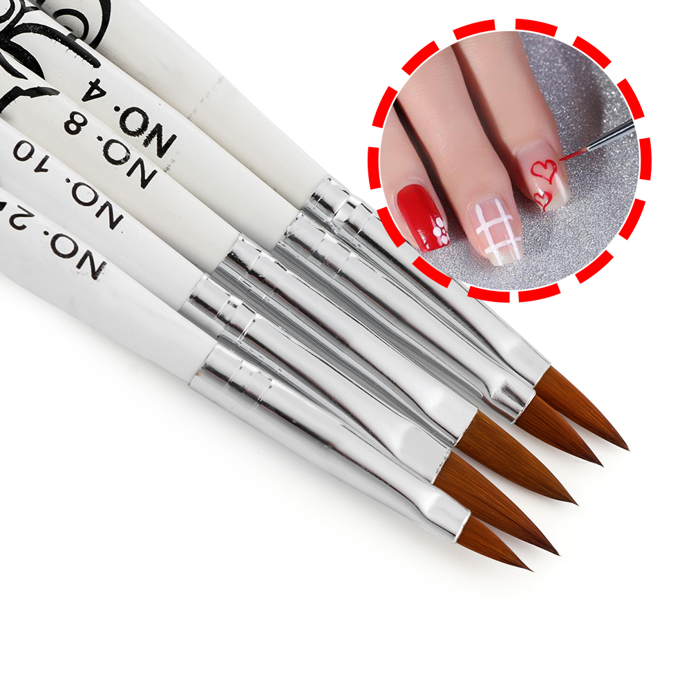 1Pcs Nail Art No.2/4/6/8/10 Acrylic Liquid Powder Carving Builder Pen Brush Sable Flower Painting Manicure Tool Gel Extension