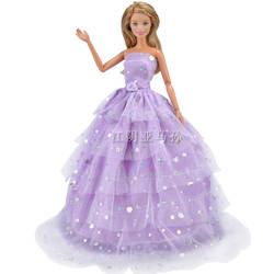 Amazon Новый стиль Барби аксессуары для кукол куклы фиолетовый шестислойная свадебное платье принцесса платье, вечерний наряд