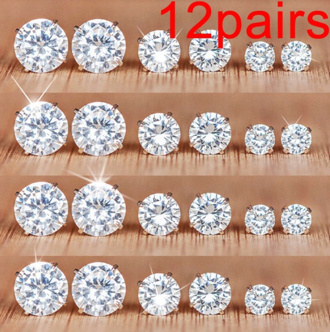 6/12 Pairs Classic Fashion Color AAA CZ Element Stud Earrings For Women Crystal Zircon Studs Earring Mens Jewelry Wholesale