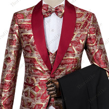New Man Fashion Red Gold Jacquard Eye-catching High Quality Party Blaz