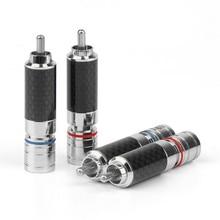 RCA 커넥터 남성 오디오 플러그 솔더 탄소 섬유 로듐 도금 RCA 플러그 스피커 터미널 어댑터 8.5mm 와이어 구멍 레드 블루
