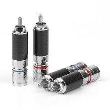 RCA Stecker Männlich Audio Stecker Solder Carbon Faser Rhodium Überzog RCA Stecker Lautsprecher Terminals Adapter 8,5mm Draht Loch Rot blau