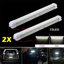 2 Pcs 72 LED Car Interior White Strip Light Bar Car Interior Lamp with On/Off Switch for Van Lorry Truck Camper Boat Car Parts new arrival 4pcs universal auto car interior door light lamp switch button car interior parts black
