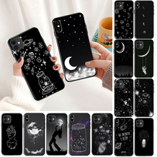 Black With White Moon Stars Space Astronaut Phone Case Shell for iPhone 6S 6plus 7 7plus 8 8Plus X Xs MAX 5 5S XR 11pro max black with white moon stars space astronaut phone case shell for iphone 6s 6plus 7 7plus 8 8plus x xs max 5 5s xr 11pro max