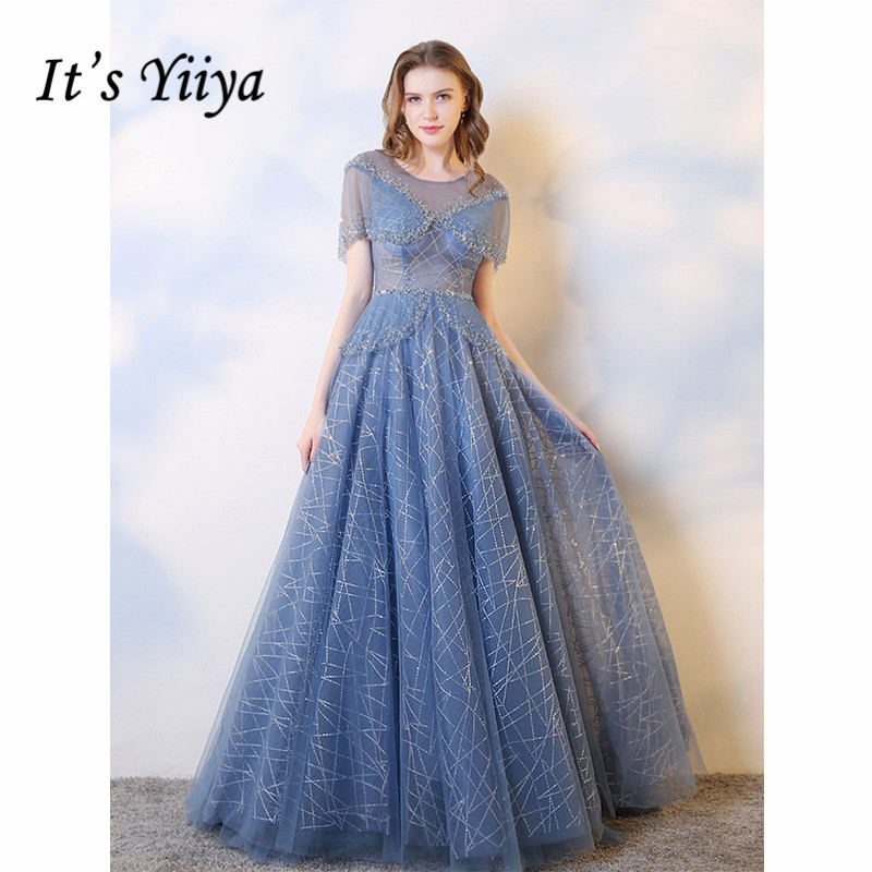 It's Yiiya Evening Dress 2019 Bule Batwing Sleeve Sequins Cut-out Lace Up Party Formal Dresses Elegant Train Ball Gowns E1048