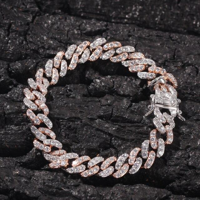 UWIN hommes femmes Bracelet 9mm glacé couleur argent/or Rose lien cubain avec zircon cubique blanc et Rose Bracelets bijoux