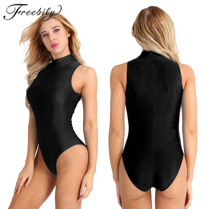 Women Sleeveless Ballet Leotard Adult High Neck Gymnastics Leotards One-Piece Swimsuit Ballerina Stage Performance Bodysuit