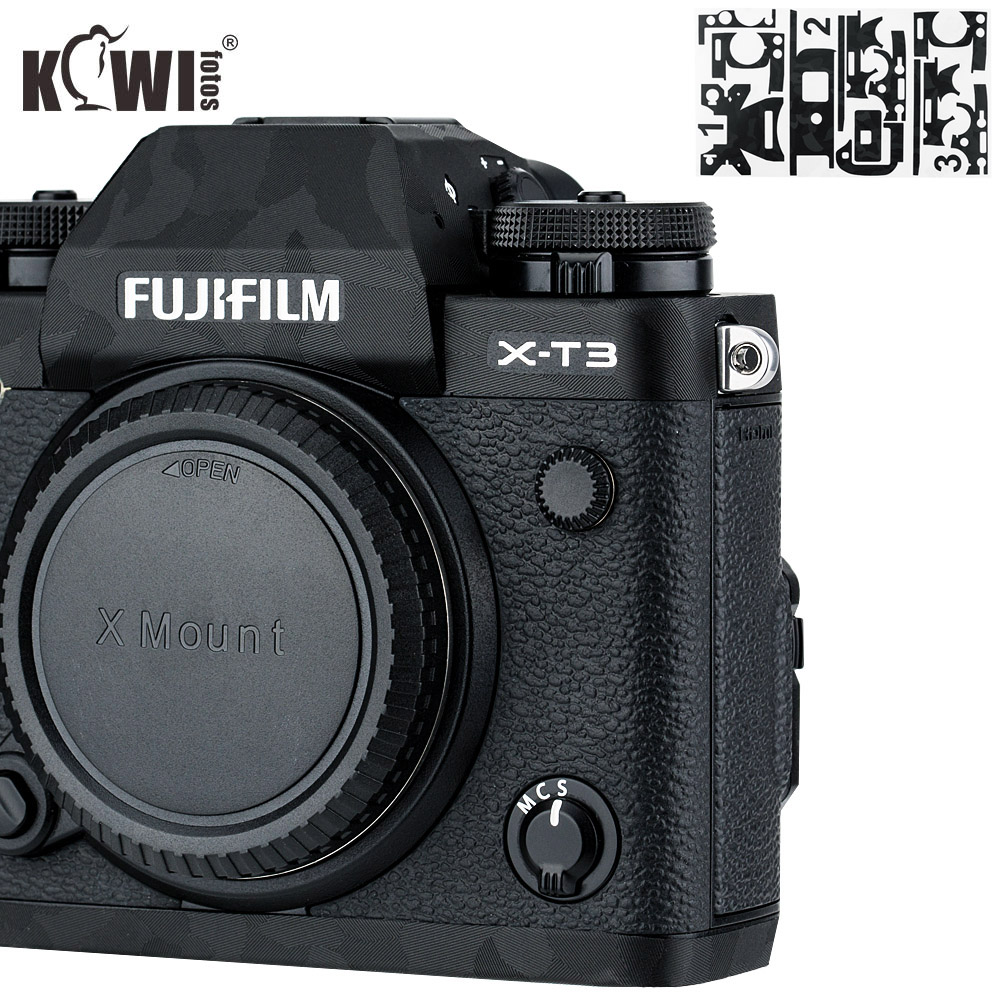 Kiwi Anti-Scratch Camera Body Cover Film For Fujifilm X-T3 XT3 Anti-Slide Grip Holder Skin Guard Shield 3M Sticker Shadow Black