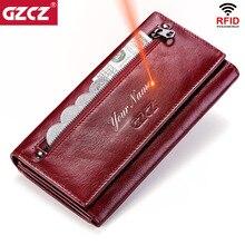 GZCZผู้หญิงคลัทช์กระเป๋าสตางค์100% ของแท้หนังRFIDหลายใบยาวแฟชั่นหญิงกระเป๋าโทรศัพท์กระเป๋า2020