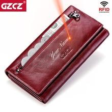 GZCZ portafogli frizione donna 100% vera pelle RFID porta carte Multiple portamonete femminile lungo moda con borsa per telefono 2020