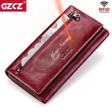 Gzcz女性クラッチ財布100% 本革rfid複数のカードホルダーロングファッション女性コイン財布電話バッグ2020