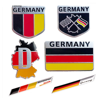Universal Metal 3D Decal Grille Bumper Window Body Decoration Germany German Flag Badge Emblem Deutsch Car Sticker image