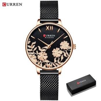 CURREN Women Watches Top Brand Luxury Stainless Steel Strap Wristwatch for Women Rose Clock Stylish Quartz Ladies Watch 10