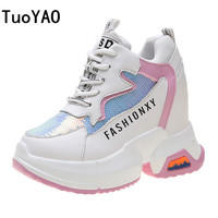 2019 Women Sneakers Mesh Casual Platform Trainers Black Shoes 10CM Heels Spring Wedges Breathable Woman Height Increasing Shoes