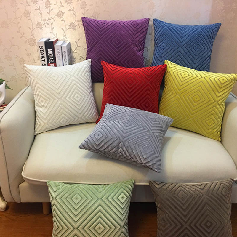 Geometric Pillow Case Chenille Flocking Cushion Cover Grey  Yellow Purple Red Home Decorative Pillow Cover 45x45cm/55x55cm
